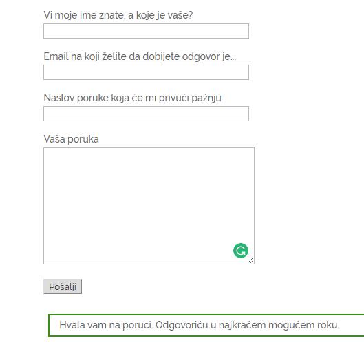 Kontakt forma sa obaveštenjem